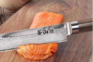 Cangshan Sashimi Knife Cutting Salmon