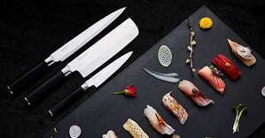 Sushi Knife Set with Sushi