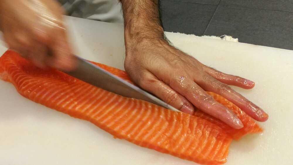 Cutting Salmon Fillet Length-Wise