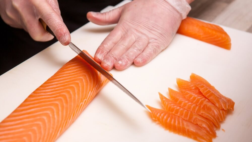 Slicing Salmon Nigiri
