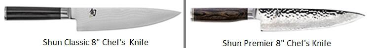 Shun Classic vs Premier - Chefs Knife Comparison Image