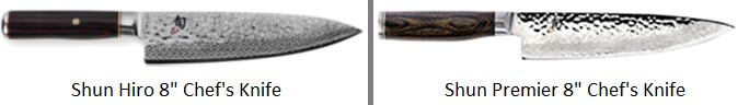 Shun Hiro vs Premier - Chefs Knife Comparison Image
