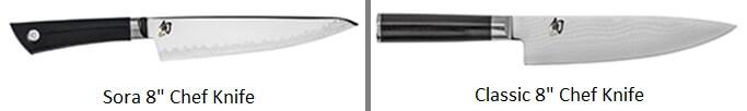 Shun Sora vs Classic - Chefs Knife Comparison Image