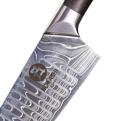 close up detailed image of bokashi steel knife blade