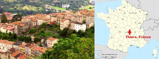 picture and map of thiers france