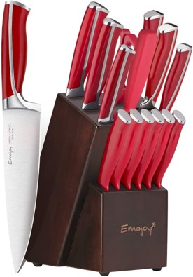 Emojoy 15piece Best Emojoy Knife Set Red Handles